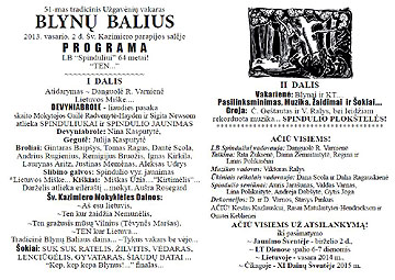 click/enlarge 2013 Blynu Balius LA Spindulys program in Lithuanian