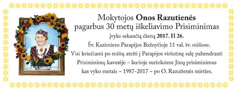 2017 Ona Razutiene Memorial event