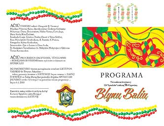 Page two of Program for LA Spindulys 2018 Blyny Balius Pancake Ball