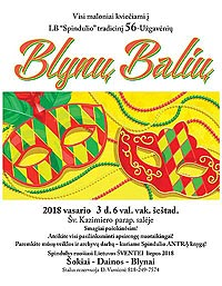 Invitation to 2018 Blyny Balius Pancake Ball
